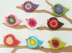 3 birds from 16 - Free choice of colors - Tiere / Animal by garndesign - Crochet patches - Patches & Appliqué - DaWanda