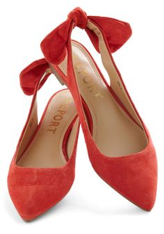 A Bright to See Flat in Tomato - Flat, Leather, Coral, Solid, Bows, Slingback
