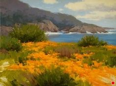 California Poppies by Laurie Kersey Oil ~ 18 x 24 Painting Photos, Seascape Artists, Coastal Painting, Plein Air, Pastel Painting, Watercolor Paintings, Pastel Landscape, Painting, Beautiful Art