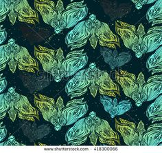 Seamless hand drawn vector  pattern of moths illustration.Template for making paper, wall paper,fabrics, textiles, packaging.Grunge modern texture background.Dark romance,spirituality,occultism,magic. - stock vector