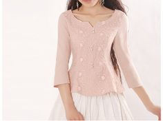 http://www.etsy.com/es/shop/happyfamilyjudy Pink Cotton blouse women shirt fashion shirt por happyfamilyjudy, $74.99