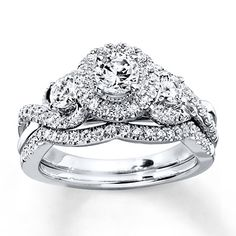 diamond bridal set 1 ct tw round cut 14k white gold