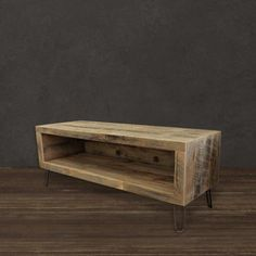 Rescued ~ Reborn This hand-crafted and highly-functional media console features an open design matched with a modern & refined feel. This custom media console displays stunning composition with the na Reclaimed Wood Media Console, Reclaimed Wood Coffee Table, Reclaimed Wood Furniture, Coffe Table, Furniture Plans, Diy Furniture, Furniture Projects, Wood Projects, Woodworking Projects
