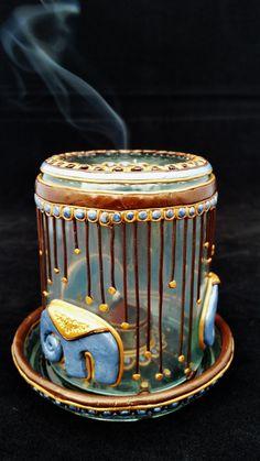 Wierrook brander Olifant goud zilver en bruin/ door PolyGlassArt