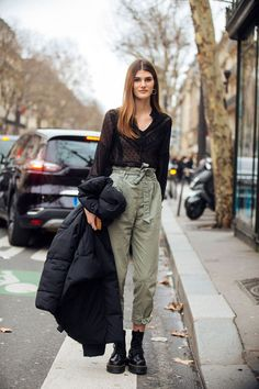 Lucia Lopez model off duty in Paris.