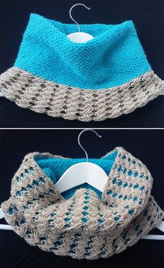 Free Knitting Pattern for Reversible Cross Stitch Cowl - This cowl knit Indian Cross Stitch and Slip Stitch Honey Comb patterns gives 2 different looks depending on which side you turn outside. Turquoise Beach Cowl designed by Nevin Dermenci.