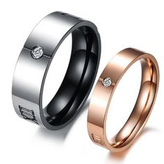 #pinkgold JewelryWe New Couples Rings His Black or Hers Rose Gold Stainless Steel Roman Numerals Engraved Promise Ring Engagement Wedding Bands - See more at: http://blackdiamondgemstone.com/rose-gold-jewelry-trend-2013/jewelrywe-new-couples-rings-his-black-or-hers-rose-gold-stainless-steel-roman-numerals-engraved-promise-ring-engagement-wedding-bands/