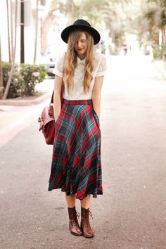 Vintage Plaid Silk Skirt and White Lace Blouse