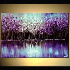 Original abstract art paintings by Osnat - purple forest reflected in the lake #abstractart #LandscapeOleo