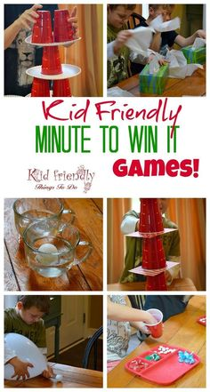 Kid Friendly Easy Minute To Win It Games for Your Party {The Best!} Kid Friendly Easy Minute To Win It Games for Your Party – [. Kids Party Games, Birthday Party Games, Easy Kid Games, Simple Games For Kids, Home Games For Kids, Games To Play With Kids, Children Games, Nerf Party, 21st Party
