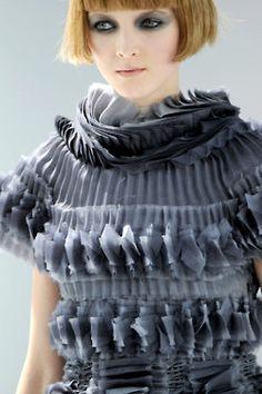 Beautiful fabric manipulation; heavily textured surface creation - Chanel - inspiring textiles #fashion