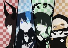 Anime picture 3507x2480 with  black rock shooter black rock shooter (character) dead master black gold saw strength (black rock shooter) junes (artist) highres multiple girls glowing glowing eye (eyes) checkered checkered background :< star (stars) skull 4girls