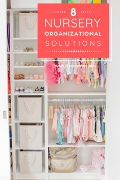 Life with a baby can be quite stressful, so here are 8 nursery organization solutions that are functional and pleasing to the eye. Nursery Closet Organization, No Closet Solutions, Indoor Activities For Toddlers, The Home Edit, Storage Bins, Blame, Home Goods, Mom, Lifestyle