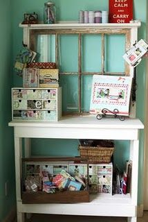 Vintage window & cabinet display - from Lisa Andrew's crafty space!