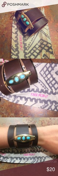 FREE PEOPLE Bracelet! NWOT, never worn. Free People brown leather wrap around bracelet. Snap closure. adjustable. Free People Jewelry Bracelets