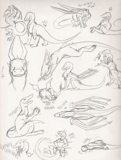 Moar poses to play with! XD Like the first page of dragon sketches, you can use these for reference only. Dragon Poses Page 2 Really Cool Drawings, Art Drawings Sketches Simple, Animal Sketches, Animal Drawings, Hand Drawing Reference, Art Reference Poses, Dragon Poses, Dragon Sketch, Dragon Artwork