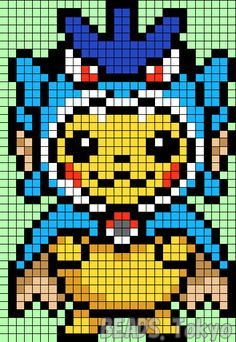 Recently it has been addicted stuffed costume of Pikachu (the Pokemon Center Original) to the parlor beads design. Cute Pikachu, but it is already drunk a do because it is still cute! Pixel Art Templates, Perler Bead Templates, Perler Patterns, Easy Pixel Art, Pixel Art Grid, Pixel Art Pikachu, Pokemon Sprites, Pokemon Gyarados, Hama Beads Pokemon