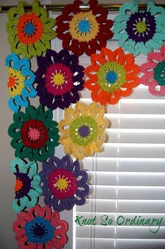 Flower Valance- Flower Curtains- Crochet Curtains- Kitchen Curtains- Colorful Curtains- Custom Curtains- Window Valance - These flower curtains are lovingly hand crocheted in a variety of bright colors to bring a touch of - Crochet Home, Crochet Crafts, Hand Crochet, Crochet Projects, Simple Crochet, Crochet Kitchen, Kitchen Window Valances, Kitchen Curtains, Curtains Living