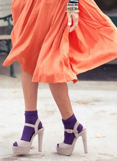 pair your taupe sandals with a pair of purple #HUE socks a la @Aimee Song | #HUELovesShoes