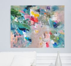 Abstract painting large mixed media painting por VictoriAtelier