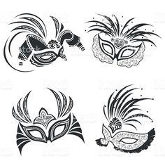 carnival mask set royalty-free stock vector art