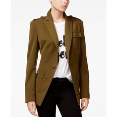 Rachel Rachel Roy Military Patch Blazer ($179) ❤ liked on Polyvore featuring outerwear, jackets, blazers, moss, rachel rachel roy, brown jacket, fashion military jacket, military blazer and patch jacket