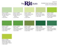green 3 cont. Rit Dye Colors Chart, Green Color Chart, Color Charts, How To Dye Fabric, Fabric Art, Silk Fabric, Floating Material, Denim Dye, Dyed Tips