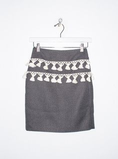 Skirt in Black with White Tassels BY HARARE