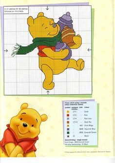 Winnie the Pooh cross stitch pattern & color info chart