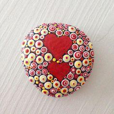 Valentine Polka dot Painted heart stones Fairy Garden Gift