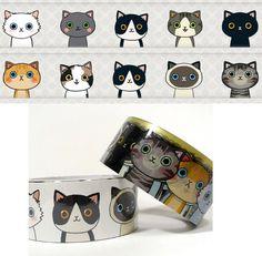 Cat Illust Decor Tape 16 inch adhesive by WonderlandRoom on Etsy, $11.80
