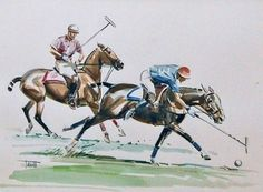"""The Flick"""" Simple Watercolour , 10 x 14 inches, Signed lower left Easy Watercolor, Watercolour, Polo Horse, Horse Books, Sport Of Kings, Book Illustration, Illustrations, Equine Art, Sports Art"""