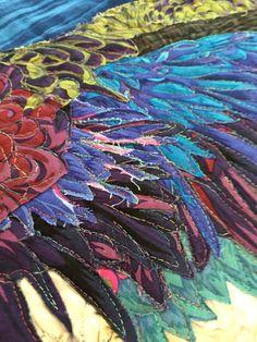 detail, Pelican art quilt by Tall Poppy Studios