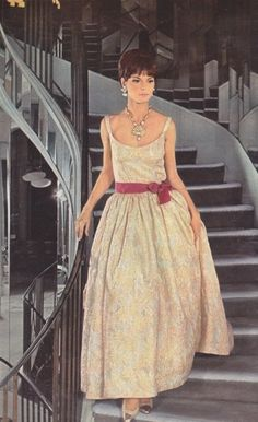 Evening dress by Chanel, Jours de France August 1964 60 Fashion, Chanel Fashion, Fashion History, Timeless Fashion, Retro Fashion, Vintage Fashion, Womens Fashion, Fashion Design, Coco Fashion