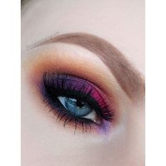 Pink, purple and gold eyeshadow #eyes #eye #makeup #bright #bold... ❤ liked on Polyvore featuring beauty products, makeup, eye makeup and eyeshadow