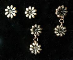Bronze daisy stud earrings made by DottyPams (me). Patternated #4 4 Feb 13