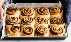 front view of two hands hold a pan of the best cinnamon rolls recipe right after the have been removed from the oven after baking before frosting Cinnabon Cinnamon Rolls, Best Cinnamon Rolls, Shawarma, Granola, Nutella, Healthy Cream Cheese, Easy Fruit Pizza, Muffins, Nutrition