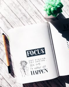 """My word of the year for 2018 is """"focus"""", took me some time to decide though. Have you decided what your word of the year is? Anyway, I wish everyone a fabulous and happy year ahead ❤️ Ps : quote taken from the internet(anonymous) Materials used : - Nuuna by brandbook size L - stabilo point 88 0.4 black - uniball signo white - girl stamp"""