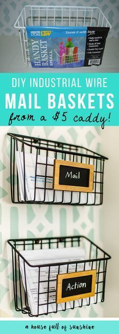 DIY Industrial wire mail baskets for sorting mail and keeping clutter off counters. Made from a $5 cleaning caddy, this is a simple DIY anyone can do! diyjoy.com/