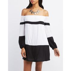 Charlotte Russe Off-the-Shoulder Color Block Shift Dress ($29) ❤ liked on Polyvore featuring dresses, black and white dress, cold shoulder dress, mini dress, striped shift dress and black and white stripe dress