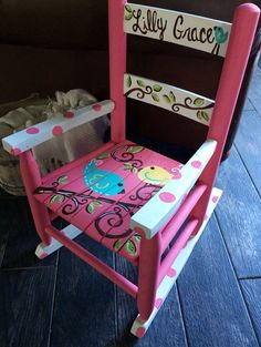 Girls Rocking Chair - Child's Rocker - Pink White Birds - Child Rocking Chair