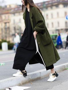 Khaki coat, cool look