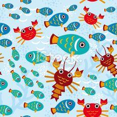 Seamless pattern with marine animals. vector Royalty Free Stock Vector Art Illustration