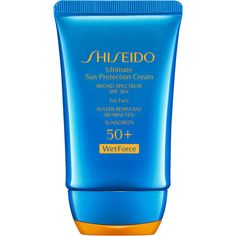 Shiseido Women's Ultimate Sun Protection Cream SPF 50+ WetForce ($36) ❤ liked on Polyvore featuring beauty products, bath & body products, sun care, beauty, makeup, cosmetics, 52. pool & beach., kozmetika, no color and shiseido