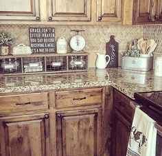 Rustic Kitchen Farmhouse - Most of us understand that the kitchen is among the busiest parts in the residence. You may shop and prepare your meals in kitchen. Country Farmhouse Decor, Farmhouse Style Kitchen, Kitchen Redo, Kitchen Country, Kitchen Signs, Farm Kitchen Ideas, Farmhouse Kitchens, Decorating Kitchen Counters, Rustic Kitchen Decor