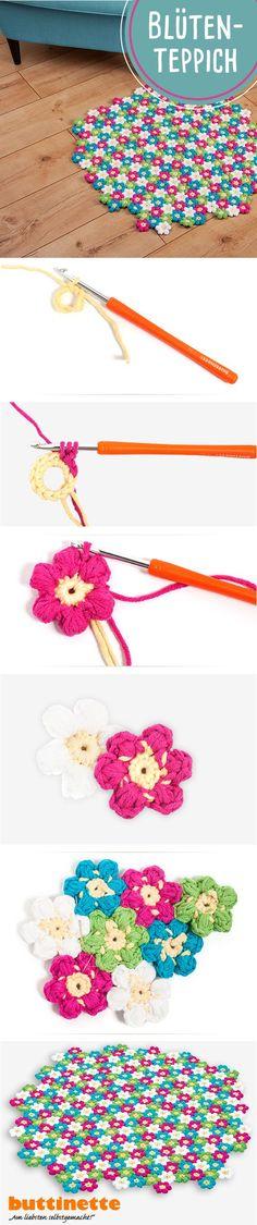 #blüten #Blumen #Blumenteppich #Teppich #häkeln #selbermachen #handarbeiten #DIY #Anleitung #Tutorial #Frühling