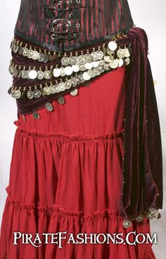 Historically women' pirates didn't really wear these beautiful hip scarf but Egyptian dancers of olde did wear them to show off their hips. They do look great on a pirate outfit n' a third of all mode