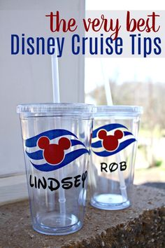Are you planning a Disney Cruise in the near future? Here are 35 Disney Cruise Tips and a few secrets that you should definitely know before you go! Plus, a fun tutorial on how to make your own Disney Cruise Cups! Disney Halloween Cruise, Disney Magic Cruise, Disney Wonder Cruise, Disney Fantasy Cruise, Disney Cruise Door, Disney Tips, Disney Dream Cruise Ship, Cruise Travel, Cruise Vacation