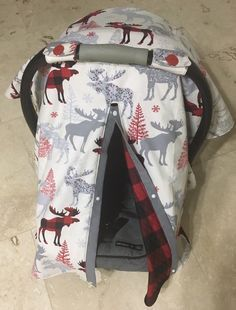 Plaid moose carseat canopy infant carrier by BabySisterCanopies