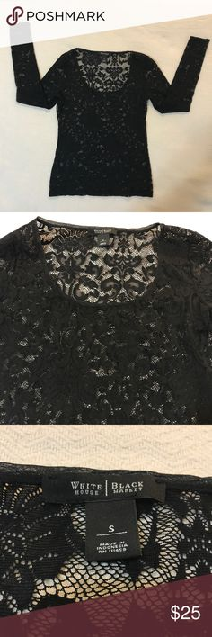 ⬇️$25 White House Black Market Black Lace Blouse Very sexy White House Black Market black lace long sleeve blouse. 95%, 5% spandex. Goes great with a camisole underneath. Thoroughly inspected. No defects. Excellent condition. White House Black Market Tops Blouses